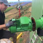 montáž elektromotoru pohonu pomaluběžného míchadla